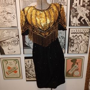 Amazing Beaded Vintage 80s Cocktail Dress